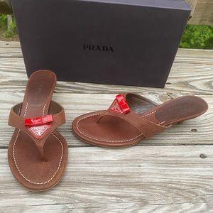 Prada Leather Thong Heel shoes sz 37 1/2